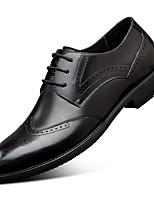 Недорогие -Муж. Комфортная обувь Наппа Leather Весна Туфли на шнуровке Черный / Коричневый