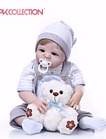 cheap -NPKCOLLECTION 24 inch Reborn Doll Baby Boy Gift New Design Artificial Implantation Blue Eyes Full Body Silicone Silica Gel Vinyl with Clothes and Accessories for Girls' Birthday and Festival Gifts