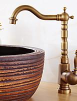 Недорогие -Ванная раковина кран - Широко распространенный Матовый никель Другое Одной ручкой одно отверстиеBath Taps