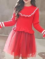 Недорогие -Дети (1-4 лет) Девочки Активный Повседневные Однотонный Рюши Длинный рукав Средней длины Полиэстер Платье Зеленый