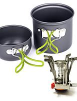 Недорогие -Походная кастрюля и сковорода Пот & Pan Легкость С защитой от ветра Дожденепроницаемый Твердый алюминий на открытом воздухе за Рыбалка Походы Серый