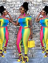 Недорогие -Жен. Повседневные Цвет радуги Комбинезоны, Контрастных цветов M L XL С короткими рукавами