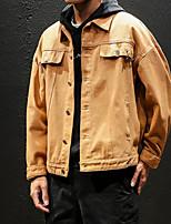 Недорогие -Муж. Повседневные Весна Обычная Куртка, Однотонный Приподнятый круглый Длинный рукав Акрил / Полиэстер Черный / Желтый XL / XXL / XXXL