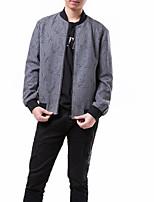 Недорогие -Муж. Повседневные Весна Обычная Куртка, Однотонный Воротник-стойка Длинный рукав Акрил / Полиэстер Серый L / XL / XXL