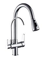 Недорогие -кухонный смеситель - Две ручки двумя отверстиями Стандартный Носик Современный Kitchen Taps