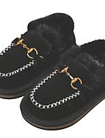 Недорогие -Девочки Обувь Замша Зима Удобная обувь Мокасины и Свитер для Дети / Для подростков Черный / Розовый / Верблюжий
