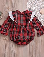 Недорогие -малыш Девочки Классический Повседневные Гусиная лапка Старинный Длинный рукав Хлопок / Лён Bodysuit Красный