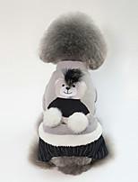 Недорогие -Собаки Плащи Одежда для собак Медведи Серый Розовый Флис Хлопок Костюм Назначение Осень Зима Наколенники Животный принт