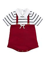 Недорогие -малыш Девочки Активный Повседневные Черный и красный Полоски Бант Рукав до локтя Хлопок Bodysuit Красный