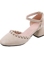 Недорогие -Жен. Синтетика Весна лето Обувь на каблуках На толстом каблуке Квадратный носок Искусственный жемчуг / Пряжки Черный / Бежевый / Розовый