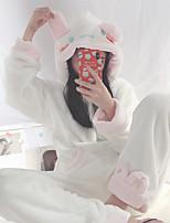 Недорогие -Взрослые Толстовка Пижамы кигуруми Кролик Цельные пижамы Фланель Белый Косплей Для Муж. и жен. Нижнее и ночное белье животных Мультфильм Фестиваль / праздник костюмы