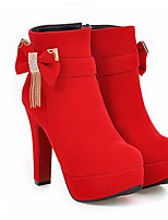 Недорогие -Жен. Замша / Микроволокно Лето Ботинки На толстом каблуке Закрытый мыс Ботинки Черный / Красный