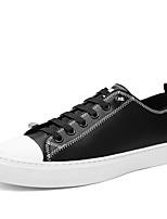 Недорогие -Муж. Комфортная обувь Кожа Весна Кеды Черный