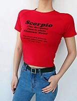 Недорогие -Тонкая футболка азиатского размера для женщин - письмо с круглым вырезом