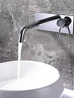 Недорогие -Ванная раковина кран - Широко распространенный Хром Другое Одной ручкой Два отверстияBath Taps