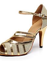Недорогие -Жен. Обувь для латины Сатин На каблуках Кубинский каблук Персонализируемая Танцевальная обувь Золотой / Черный