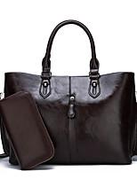 cheap -Women's Zipper PU Bag Set Solid Color 2 Pieces Purse Set Black / Brown