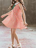 Недорогие -Дети Девочки Симпатичные Стиль Повседневные Однотонный Пэчворк Без рукавов Выше колена Полиэстер Платье Оранжевый