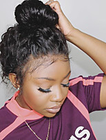 Недорогие -человеческие волосы Remy Фронтальная часть Лента спереди Парик Глубокое разделение С конским хвостом Beyonce стиль Бразильские волосы Волнистые Черный Парик 150% Плотность волос / Природные волосы