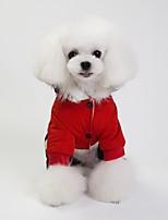 baratos -Cachorros Casacos Roupas para Cães Sólido Simples Cinzento Vermelho Azul Algodão Ocasiões Especiais Para Outono Inverno Unisexo Aquecimento
