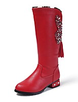 Недорогие -Девочки Обувь Кожа Зима Удобная обувь / Модная обувь Ботинки для Для подростков Белый / Красный / Розовый / Сапоги до середины икры