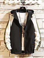 Недорогие -Муж. Повседневные Уличный стиль Обычная Куртка, Контрастных цветов V-образный вырез Длинный рукав Полиэстер Черный / Серый / Светло-синий XL / XXL / XXXL