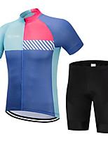 Недорогие -FirtySnow Муж. С короткими рукавами Велокофты и велошорты - Синий+Розовый Велоспорт Наборы одежды Дышащий Быстровысыхающий Виды спорта Полиэстер Однотонный Горные велосипеды Шоссейные велосипеды