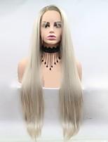 Недорогие -Синтетические кружевные передние парики Естественные прямые Золотистый Стрижка каскад Светло-золотой 130% Человека Плотность волос Искусственные волосы 24 дюймовый Жен. / Зеленый / Лента спереди