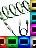 Недорогие -KWB 5V RGB полосы света 60 светодиодов 5050 smd 1 м светодиодные полосы света 3-клавишный пульт дистанционного управления RGB TV фоновой подсветки