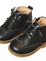Недорогие -Девочки Обувь Кожа Осень Удобная обувь / Армейские ботинки Ботинки для Дети Черный / Бежевый / Коричневый