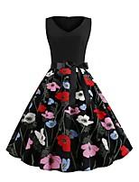 Недорогие -Жен. Уличный стиль С летящей юбкой Платье - Цветочный принт, С принтом Выше колена