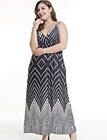 Недорогие -Жен. Пляж А-силуэт Платье С принтом Глубокий V-образный вырез Макси / Сексуальные платья