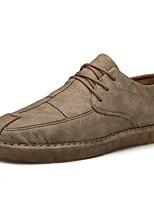 Недорогие -Муж. Комфортная обувь Микроволокно Весна & осень Туфли на шнуровке Черный / Серый / Хаки