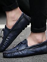Недорогие -Муж. Комфортная обувь Кожа Весна лето Мокасины и Свитер Черный / Коричневый / Синий