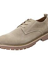 Недорогие -Муж. Комфортная обувь Кожа Весна & осень Туфли на шнуровке Черный / Миндальный / Хаки