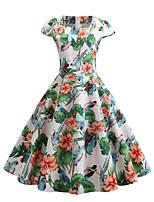 Недорогие -Жен. Уличный стиль С летящей юбкой Платье Вышивка Квадратный вырез До колена
