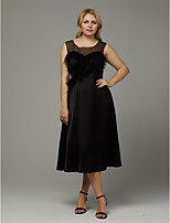 cheap -Plus Size A-Line Jewel Neck Tea Length Stretch Satin Cocktail Party Dress with Feathers / Fur by TS Couture®