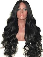 Недорогие -Не подвергавшиеся окрашиванию Необработанные натуральные волосы Лента спереди Парик Стрижка каскад стиль Бразильские волосы Естественные кудри Черный Парик 150% Плотность волос / Природные волосы