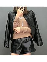 Недорогие -Жен. Повседневные Классический Осень Обычная Кожаные куртки, Однотонный Круглый вырез Длинный рукав Полиуретановая Черный / Розовый / Бежевый XL / XXL / XXXL