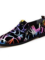 Недорогие -Муж. Обувь для вождения Искусственная кожа / Микроволокно Весна лето На каждый день / Английский Мокасины и Свитер Нескользкий Камуфляж Цвет радуги