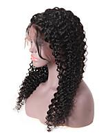 Недорогие -человеческие волосы Remy Лента спереди Парик стиль Бразильские волосы Kinky Curly Черный Парик 150% Плотность волос Для темнокожих женщин Черный Жен. Длинные