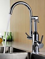 Недорогие -кухонный смеситель - Две ручки одно отверстие Электропокрытие Стандартный Носик Обычные Kitchen Taps