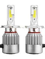 Недорогие -пара c6 h4 72w 7600lm 6000k-6500k белый автомобиль ip68 cob светодиодные фары дальнего / ближнего света лампы
