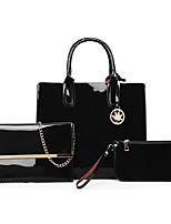 cheap -Women's Zipper Patent Leather Bag Set Solid Color 3 Pcs Purse Set Black / Purple / Blue