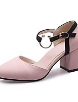 Недорогие -Жен. Полиуретан Весна & осень На каждый день / Минимализм Обувь на каблуках На толстом каблуке Заостренный носок Черный / Бежевый / Розовый / Контрастных цветов