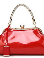 cheap -Women's Crystals PU Top Handle Bag Solid Color Black / Wine / White