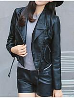 Недорогие -Жен. Повседневные Классический Осень Обычная Кожаные куртки, Однотонный Рубашечный воротник Длинный рукав Полиуретановая Черный M / L / XL