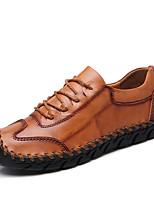 Недорогие -Муж. Печать Оксфорд Кожа Весна & осень На каждый день / Английский Туфли на шнуровке Нескользкий Черный / Коричневый