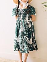 Недорогие -Дети Девочки Классический Геометрический принт Длинный рукав Платье Зеленый