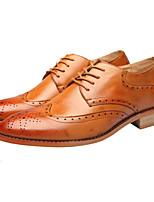 Недорогие -Муж. Комфортная обувь Кожа Наступила зима Туфли на шнуровке Черный / Желтый / Винный